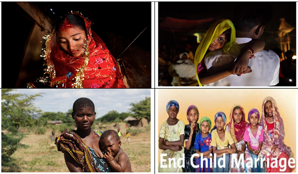 child marriage picture collage