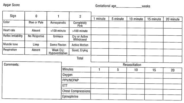 Expanded Apgar Score Form
